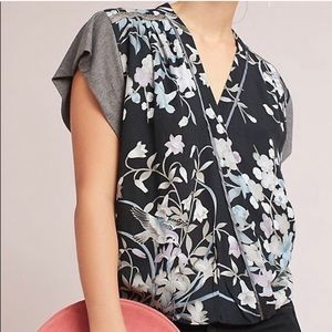 Anthropologie Tops - Anthropologie Floral Wrap Front Shirt Blouse Small